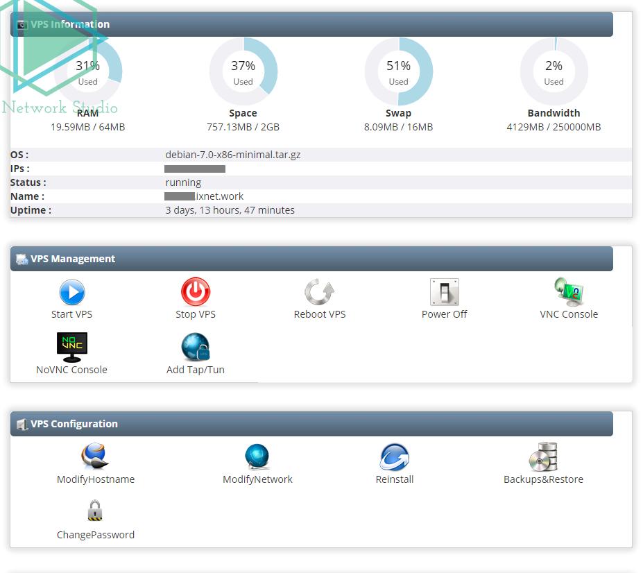 vps的控制面板,基本功能都非常齐全,快照、重装系统等都有