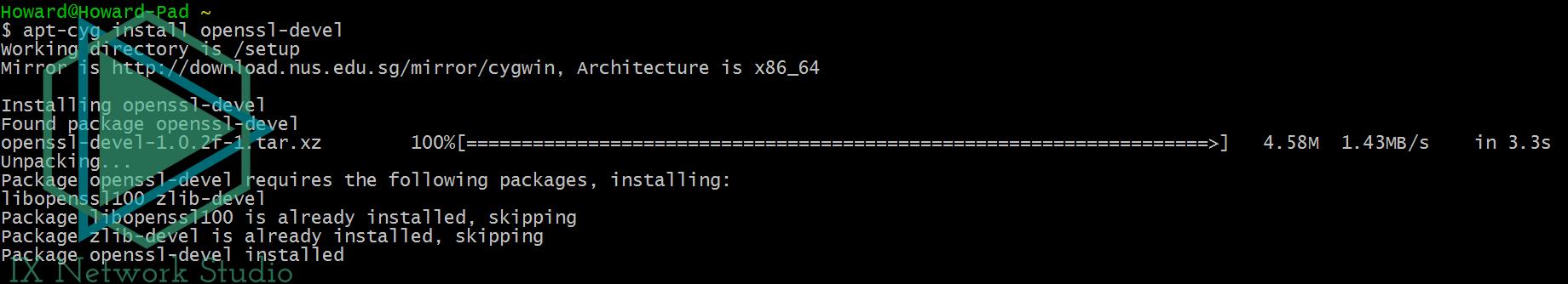 通过apt-cyg安装软件包