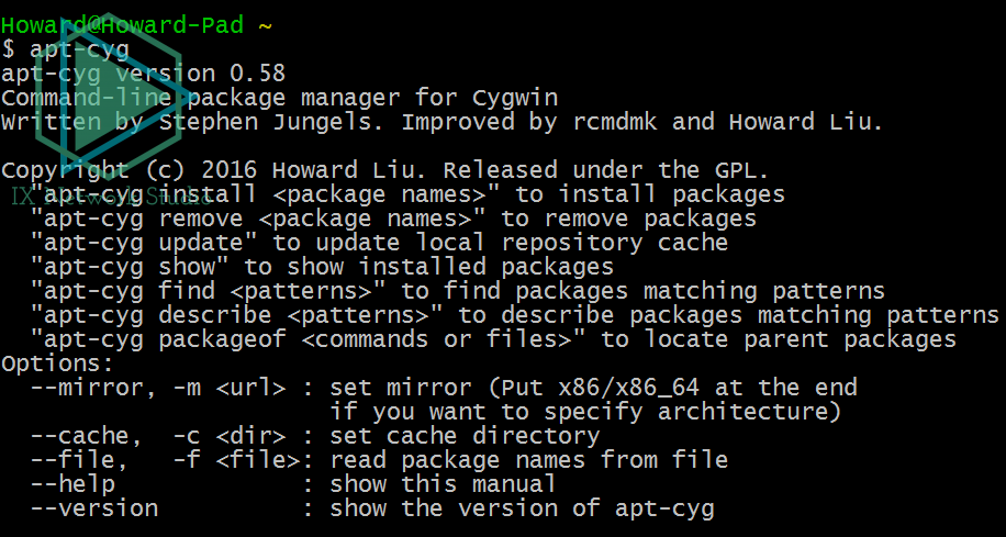 apt-cyg帮助页面